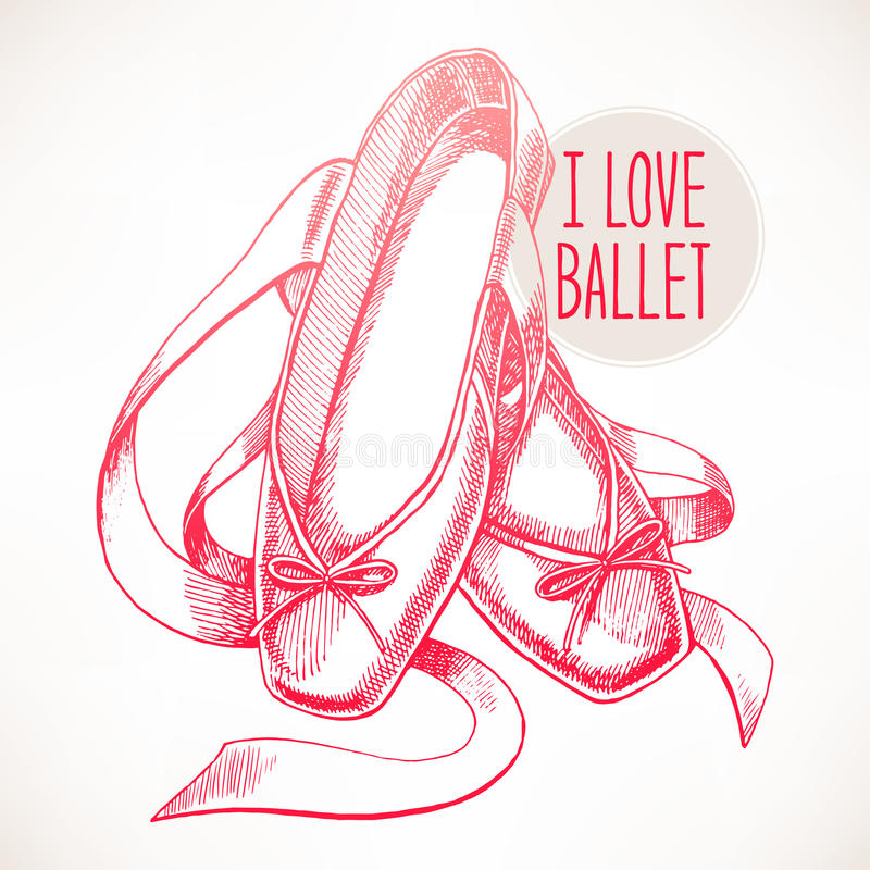 Pink pointe shoes. Beautiful hand-drawn pink pointe shoes with long ribbons royalty free illustration