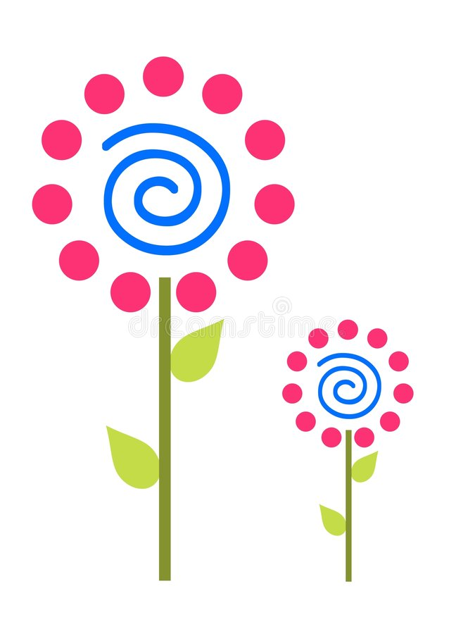 Download Pink Polka Dot Flowers stock illustration. Illustration of swirls - 5828609