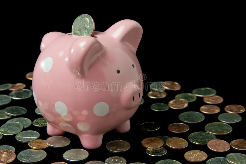 Download Pink Polka Dot Piggy Bank With Cash Stock Photo - Image: 25250674