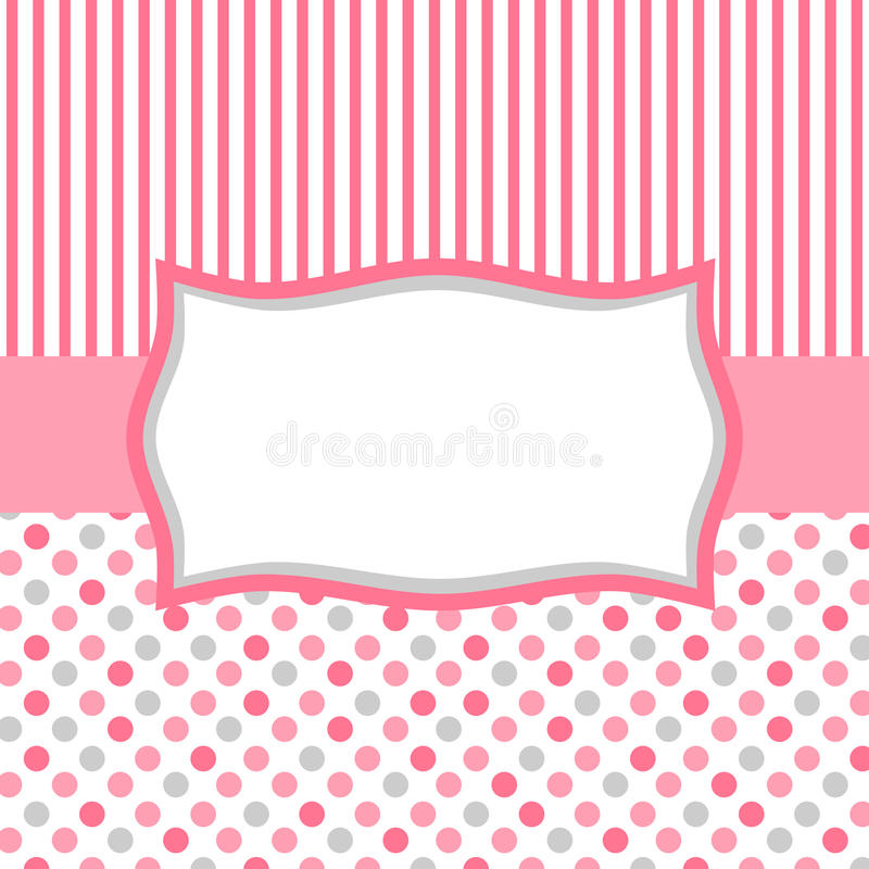 Pink polka dots and stripes invitation card royalty free stock images