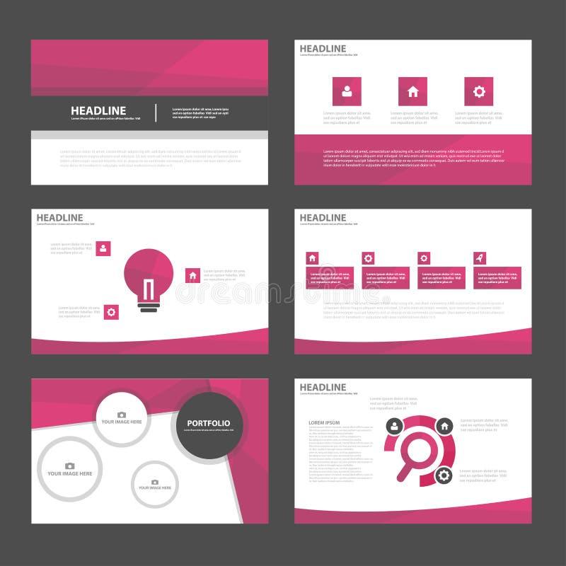 Pink polygon presentation templates Infographic elements flat design set for brochure flyer leaflet marketing royalty free illustration