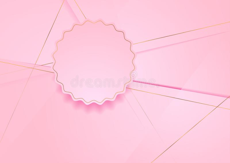 Pink polygonal background with curved circle and golden lines vector illustration