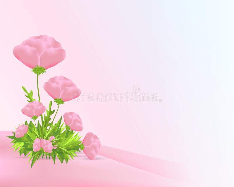 Pink poppies, cdr vector stock image