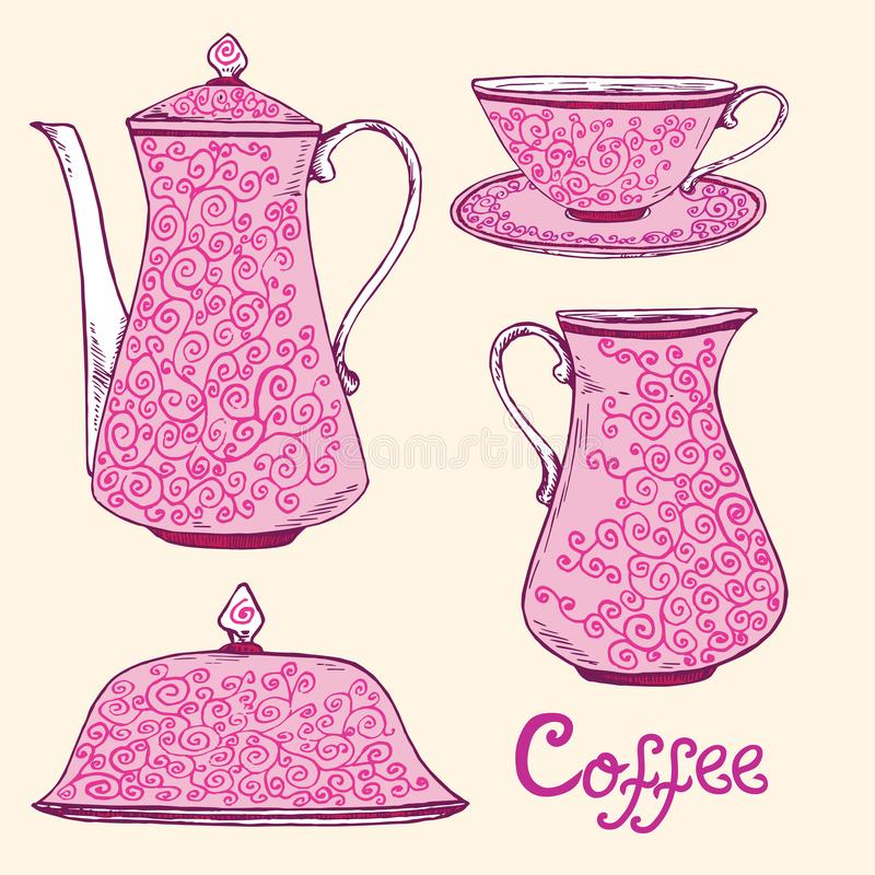 Pink porcelain service with twisted ornament, coffee pot, sugar bowl, cup and saucer, creamer, hand drawn doodle, simple sketch vector illustration