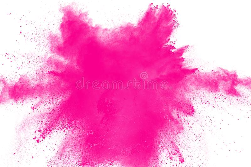Pink powder explosion. Pink dust splash. Pink powder explosion isolated on white background. Pink dust splash royalty free stock photography