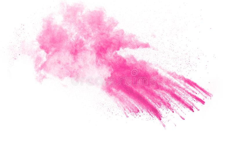 Pink powder explosion on white background. Pink dust splash cloud. Launched colorful particles stock images