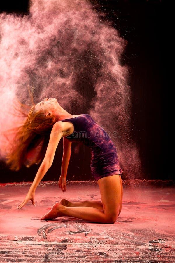 Pink powder hair jazz ballet stock image