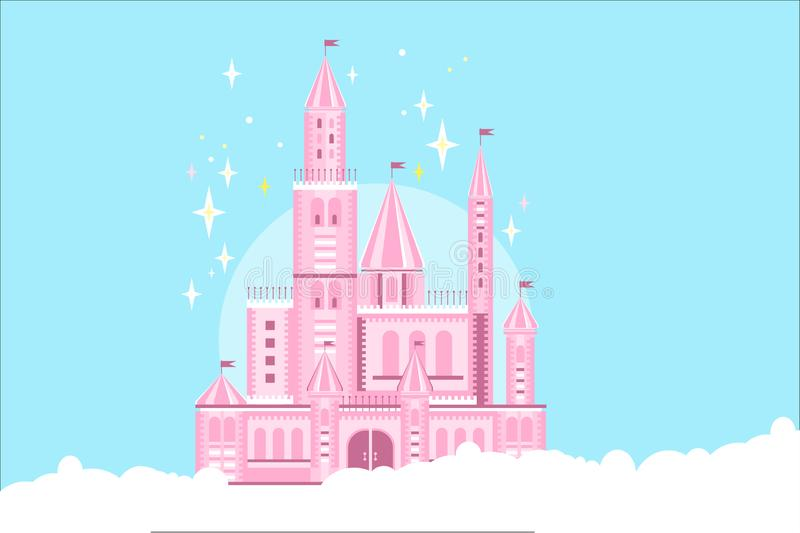Pink princess castle in white clouds. Fairy tale building. Royal palace with towers, gate, conical roofs and flags. Beautiful pink princess castle in white vector illustration