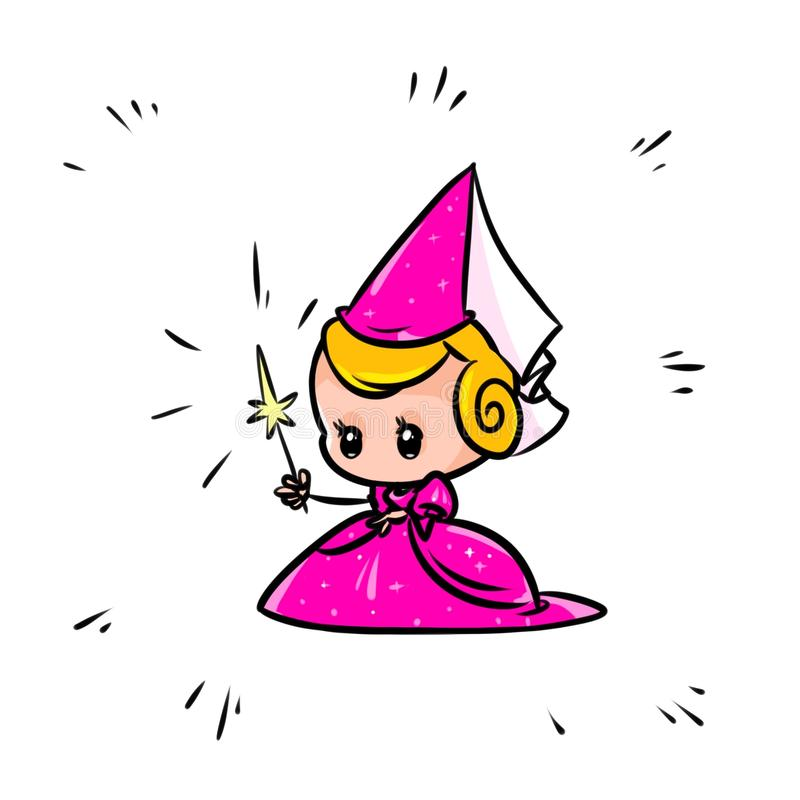 Pink Princess Fairy Sorceress cartoon stock illustration