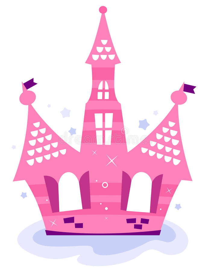 Pink princess sky Castle royalty free illustration