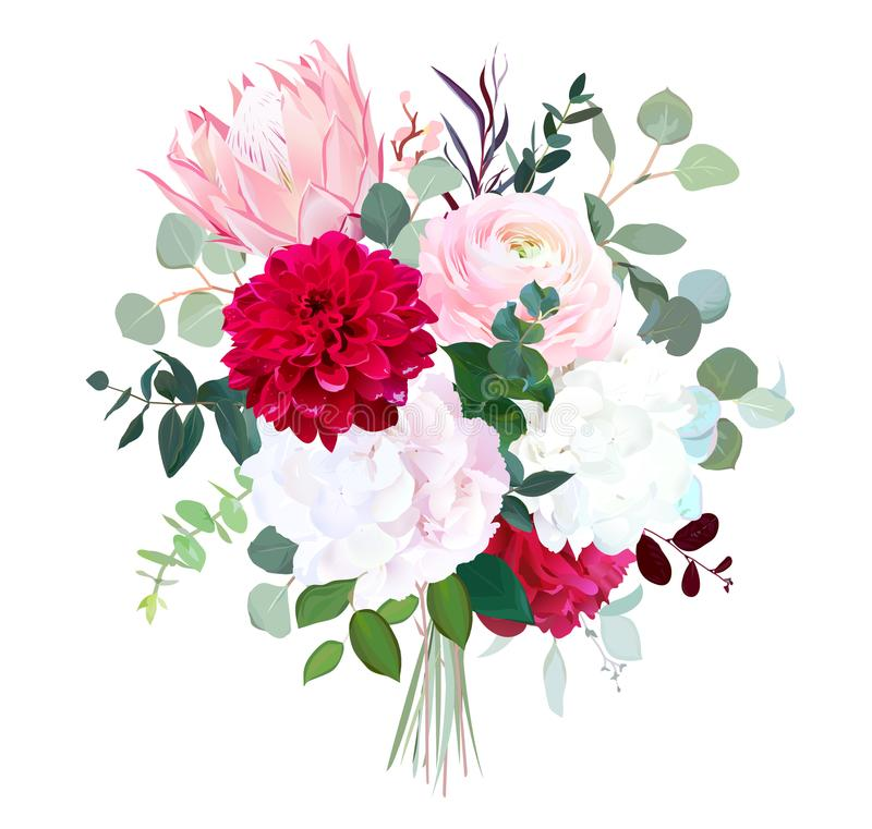 Pink protea, ranunculus, burgundy red dahlia, peony, white hydra. Ngea, agonis, eucalyptus, greenery big vector bouquet. Autumn wedding flowers. Watercolor style vector illustration