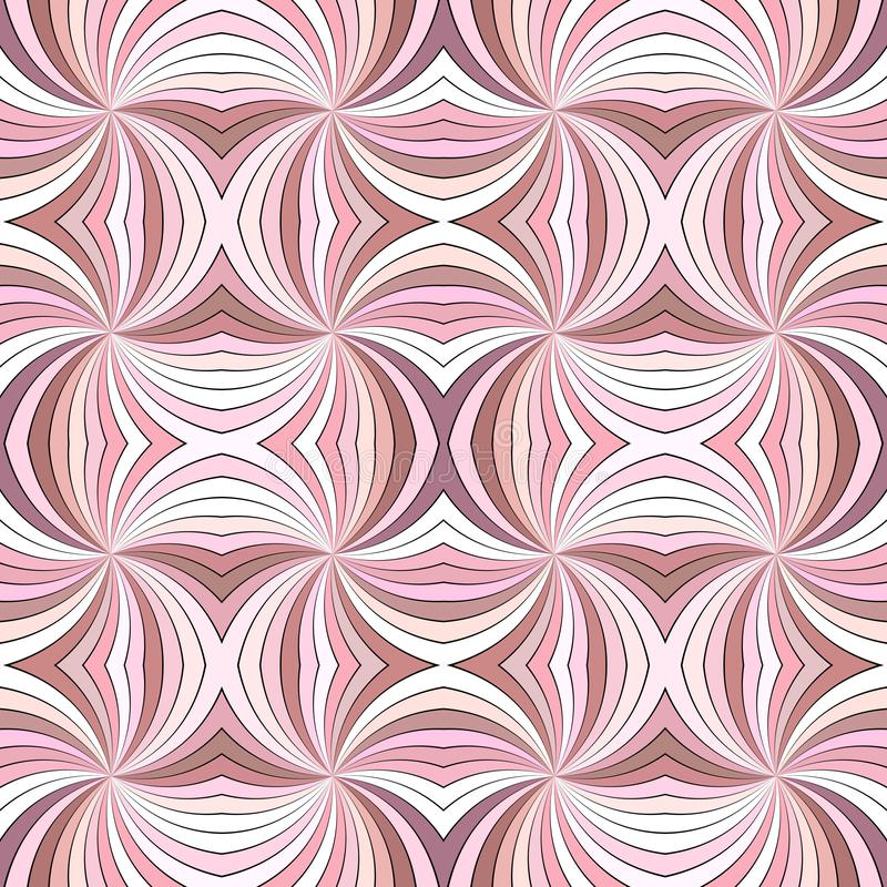 Pink psychedelic abstract seamless striped spiral vortex pattern background design from swirling rays. Pink psychedelic abstract seamless striped spiral vortex stock illustration