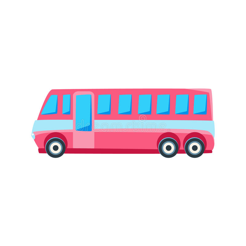 Pink Public Bus Toy Cute Car Icon. Flat Vector Transport Model Simple Illustration On White Background royalty free illustration