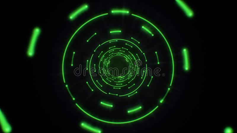 Pink and purple abstract light circles seamless looping. Animation of an abstract background tunnel loop with shiny light circles. Futuristic illumination neon vector illustration