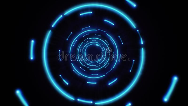 Pink and purple abstract light circles seamless looping. Animation of an abstract background tunnel loop with shiny light circles. Futuristic illumination neon stock illustration