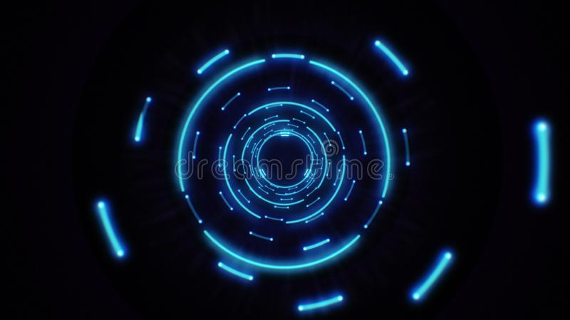 Pink and purple abstract light circles seamless looping. Animation of an abstract background tunnel loop with shiny light circles. Futuristic illumination neon royalty free illustration