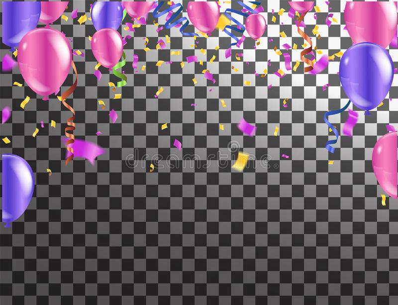 Pink and Purple balloons on the upstairs with Gold confetti  and Merry christmas wallpaper and Happy New background vector illustration