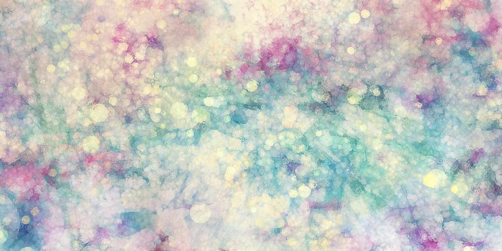 Pink purple blue green and white background with glass texture and bokeh lights blurred in soft colors royalty free illustration