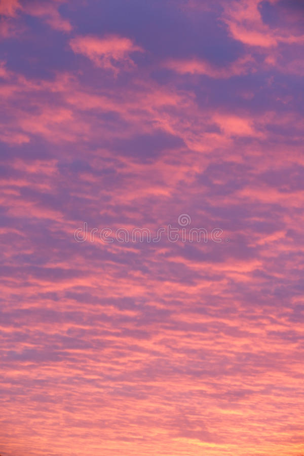 Pink and purple clouds at sunset royalty free stock photo