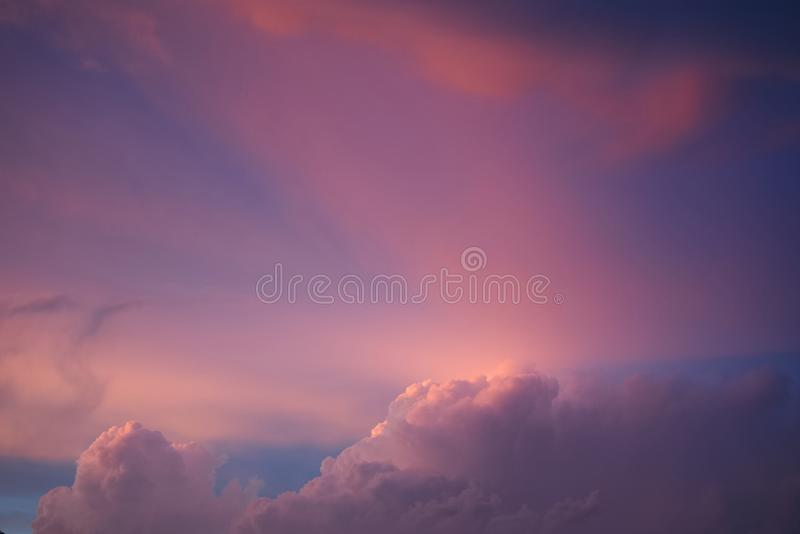 Pink purple cloudy sky sunset. In fall royalty free stock images