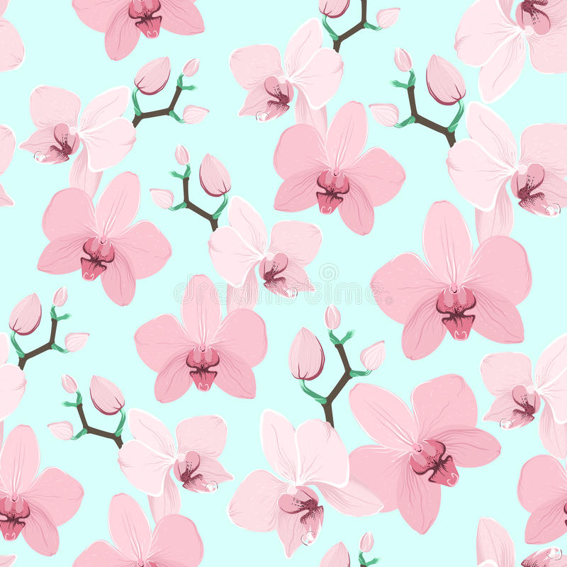 Pink purple exotic orchid flower seamless pattern vector illustration