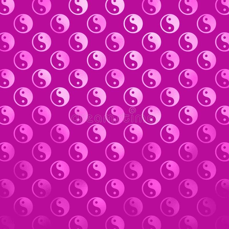 Pink Purple Faux Foil Yin Yang Metallic Tao Balance Chinese Taoism stock illustration