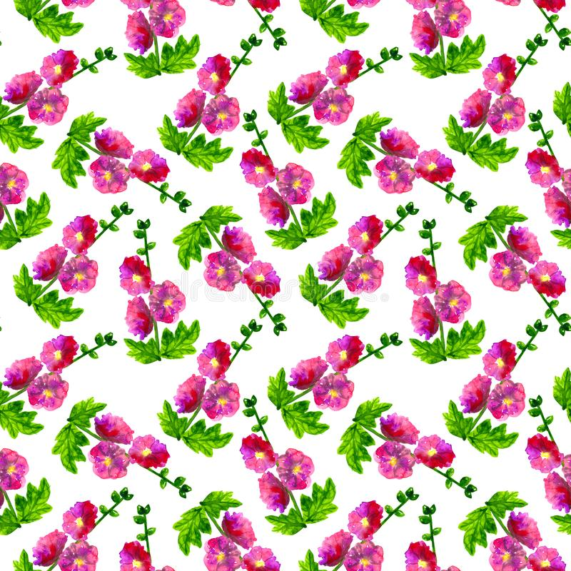 Pink purple mallow with leaves. Seamless pattern. Hand drawn watercolor illustration. Texture for print, fabric, textile. Pink purple mallow with leaves royalty free stock photo