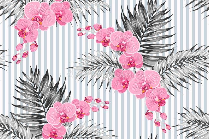 Pink purple orchid phalaenopsis exotic flowers tropical jungle palm tree leaves. Greyscale background vertical stripes. stock illustration