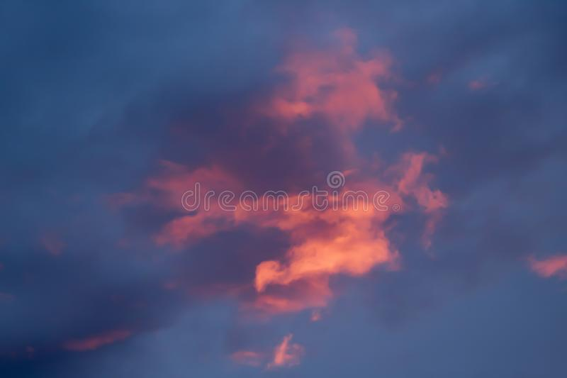 Pink and Purple Pop of Color Cloudy Sky at Sunset or Sunrise royalty free stock photos