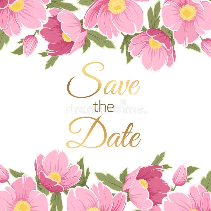 Pink purple spring floral garland wedding invite. Spring floral garland foliage top bottom decoration. Save the date text placeholder. Wedding marriage event royalty free illustration