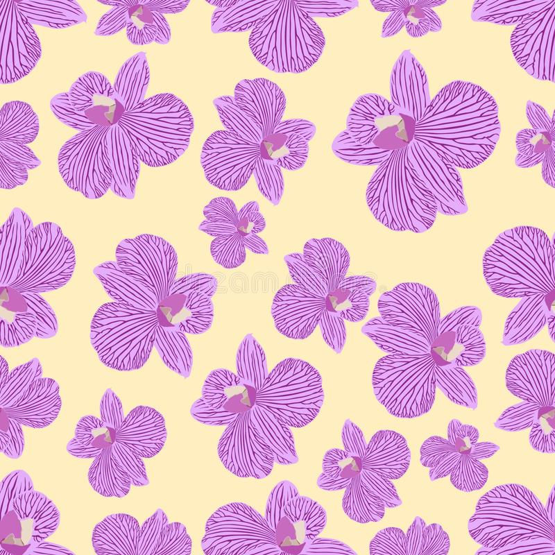 Pink purple tender orchid floral seamless pattern. Exotic spring stock illustration