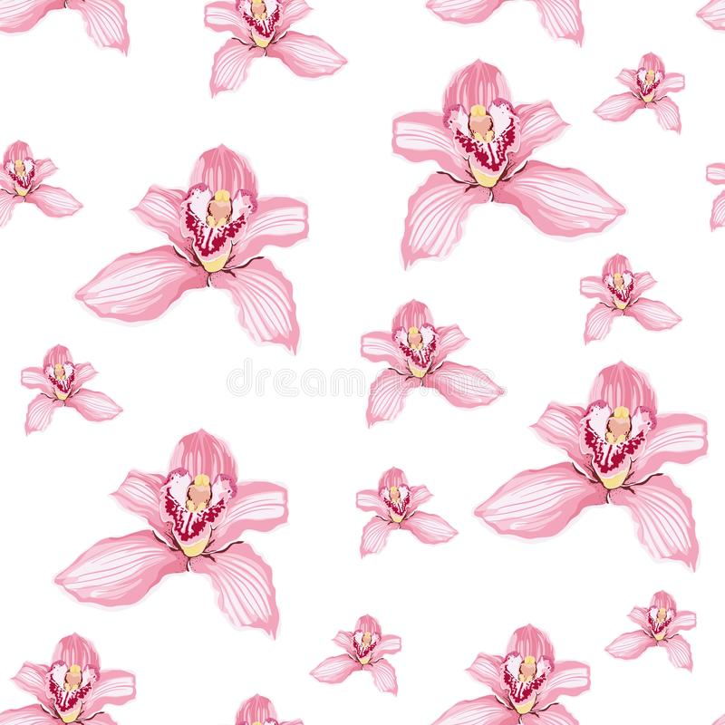 Pink purple tender orchid phalaenopsis floral seamless pattern. stock illustration