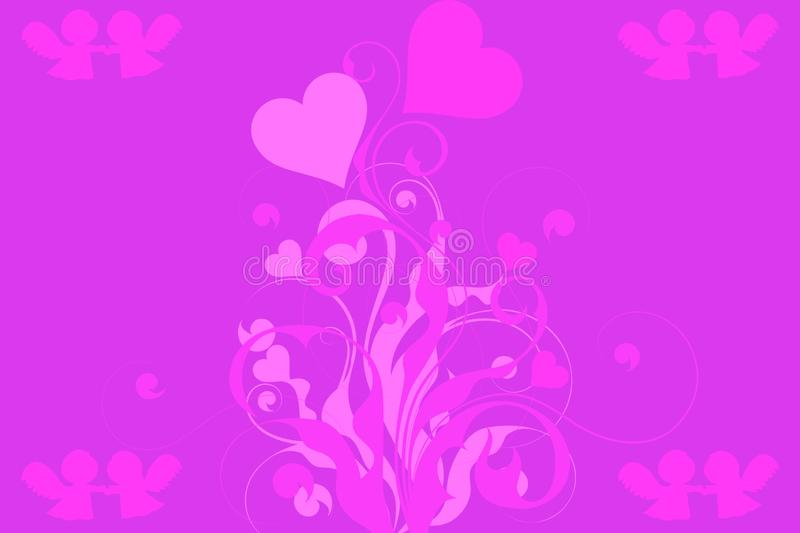 Pink and purple valentines day background, a plant with hearts and angels holding hands. A pink and purple valentines day background, a plant with hearts and stock illustration