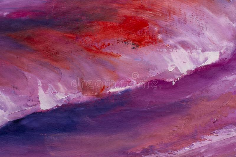 Pink purple waves palette knife oil painting. On canvas - abstract background - modern impressionism impasto fine art stock illustration