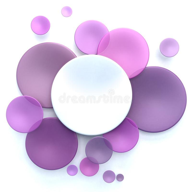 Pink, purple and white circle background. Abstract background with white and pink, purple transparent disks stock illustration