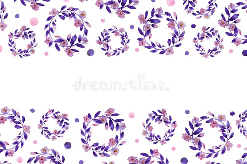 Background With Watercolor Wreaths stock image