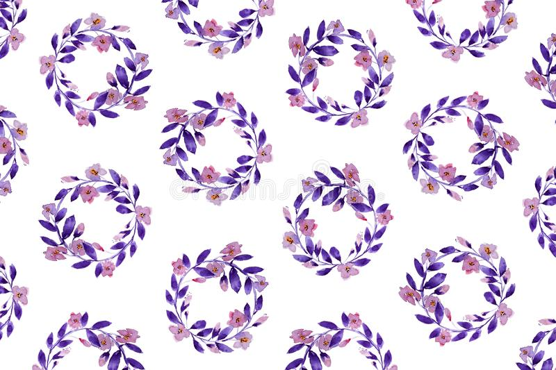 Floral Pattern In Watercolor royalty free stock image