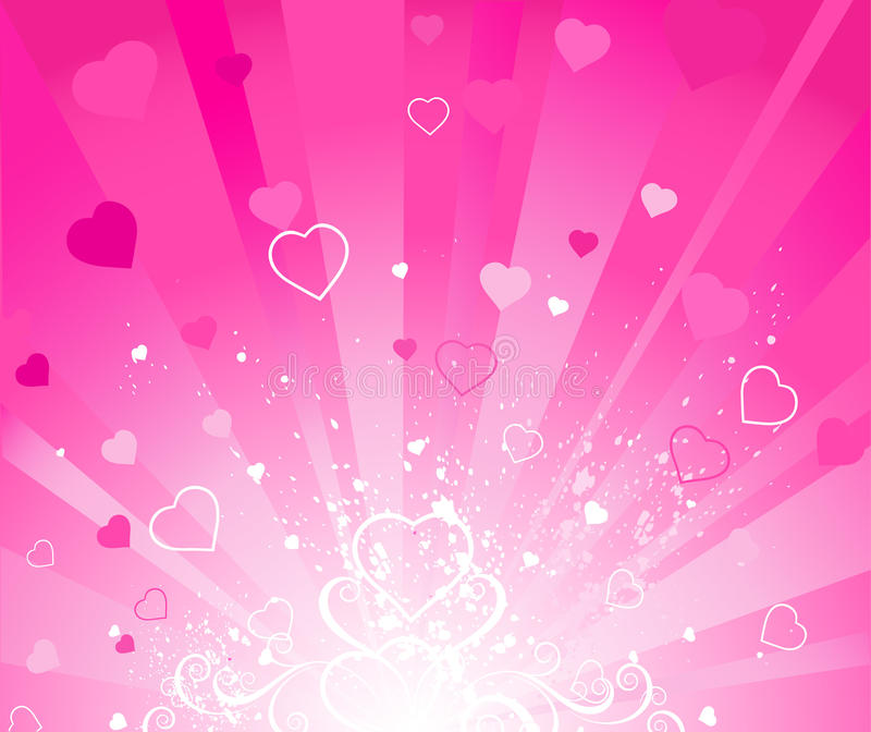 Pink radiant background. Radiant pink background with pink end white hearts royalty free illustration
