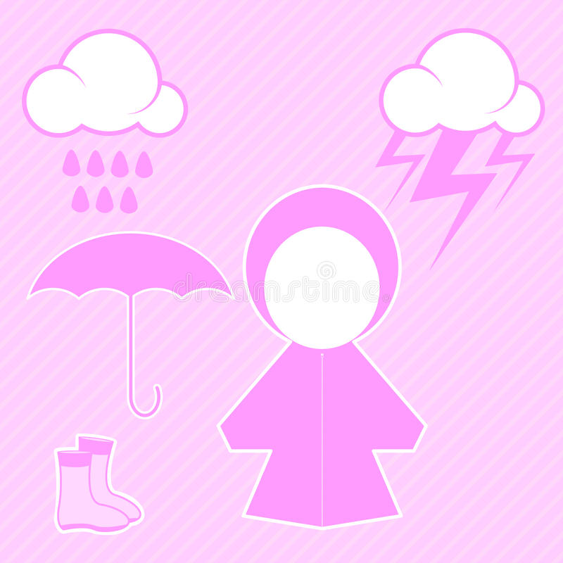 Download Pink raincoat and raindrop stock illustration. Image of boot - 27711564