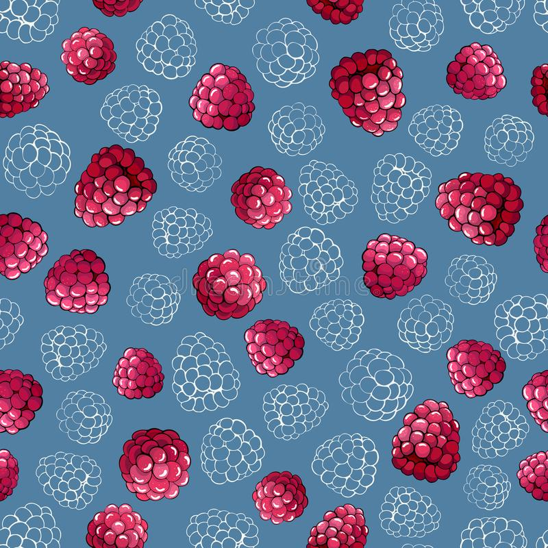 Pink raspberry berries seamless pattern on a blue background stock illustration