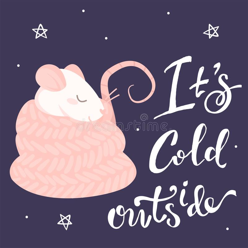 Pink rat in a scarf and lettering it`s cold outside. On a purple background royalty free illustration