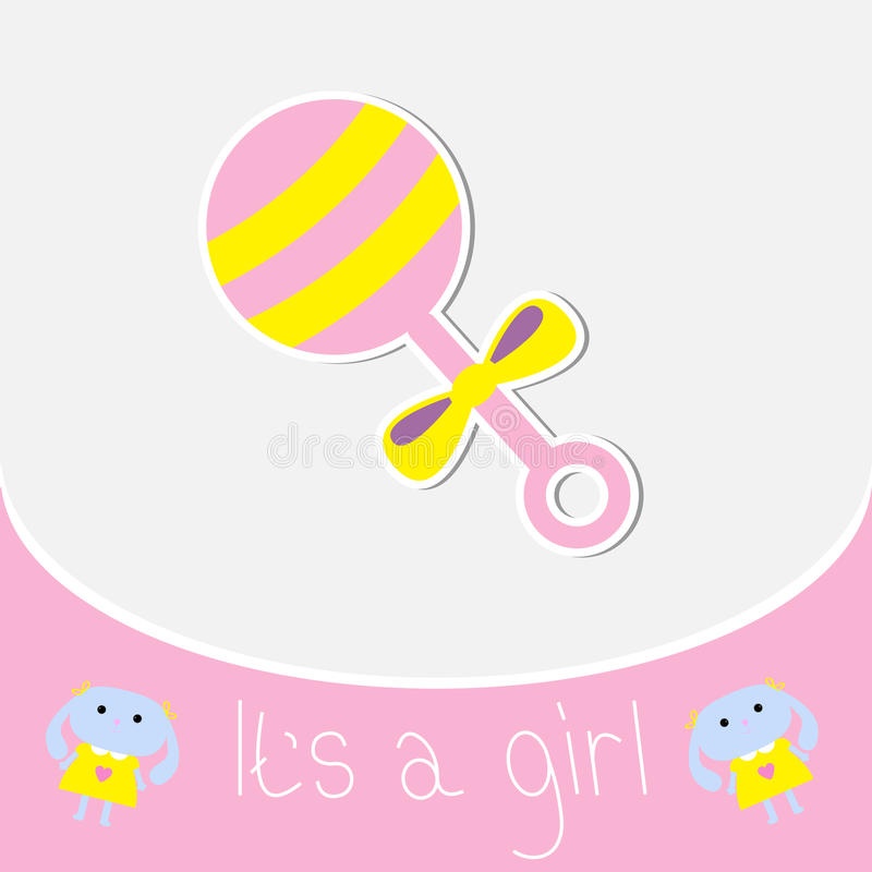 Free Pink Rattle. Baby Girl Shower Card Royalty Free Stock Photo - 37964035