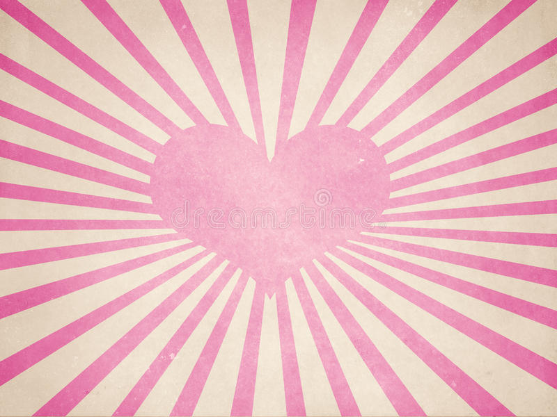 Pink rays with heart shape royalty free stock photography