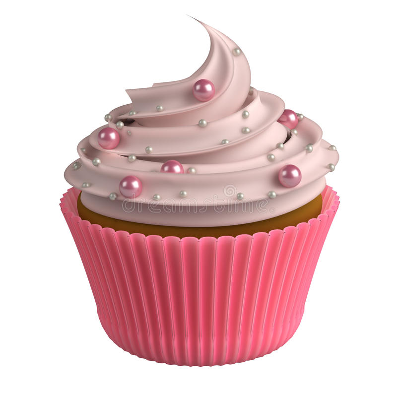pink realistic cupcake isolated on white background 3d stock illustration illustration of desert clipart desert clipart