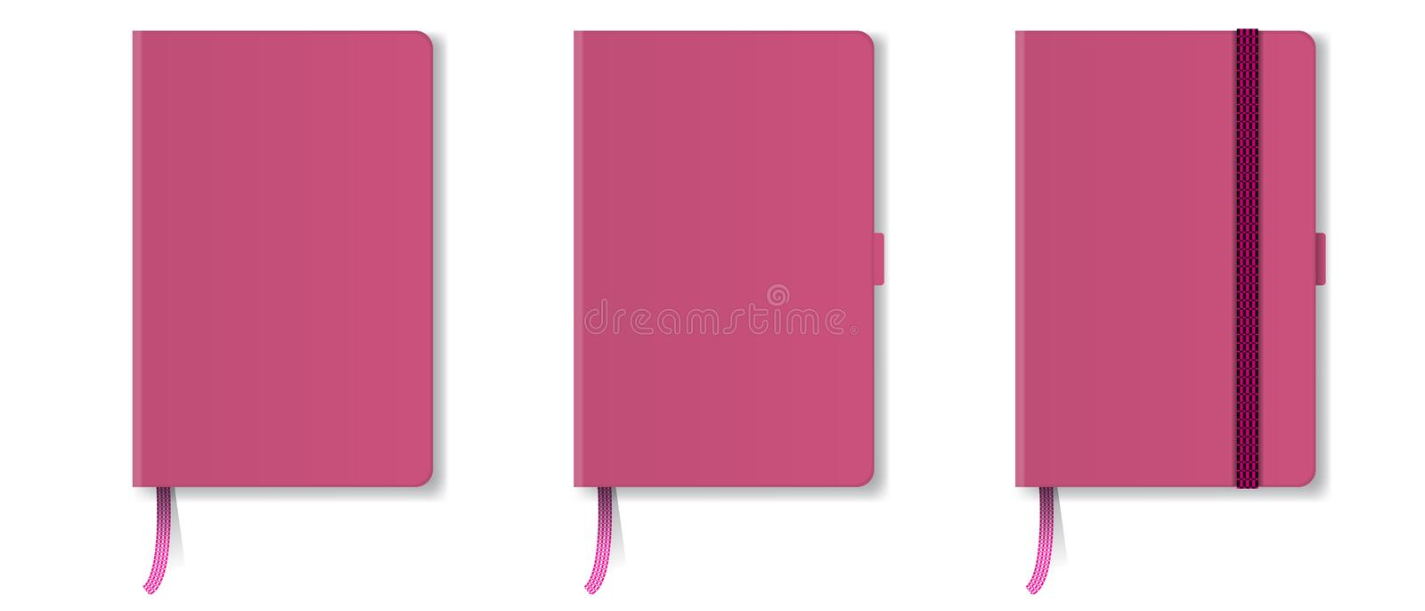 Pink realistic hard cover notebook with red bookmark and ribbon. Vector illustration. royalty free illustration