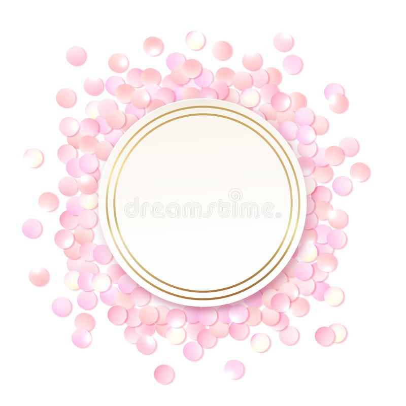Pink realistic round confetti frame, design template for gift, certificate, voucher, AD brochure and so. stock illustration