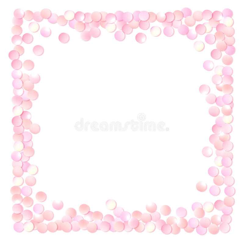 Pink realistic square confetti frame, design template for gift, certificate, voucher, AD brochure and so. stock illustration