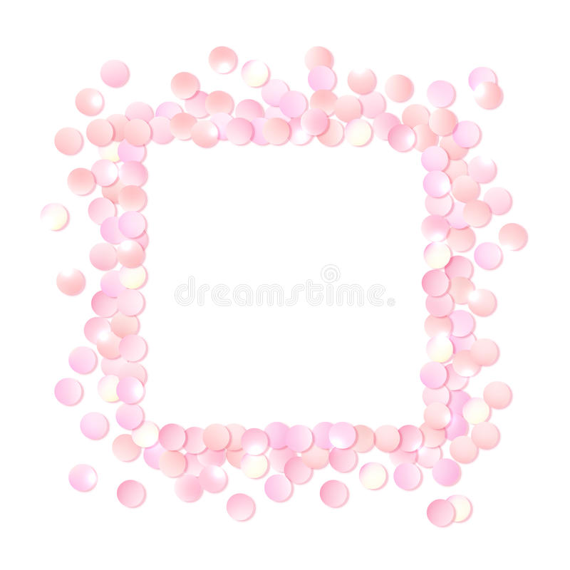 Pink Realistic Square Confetti Frame, Design Template For Gift ...