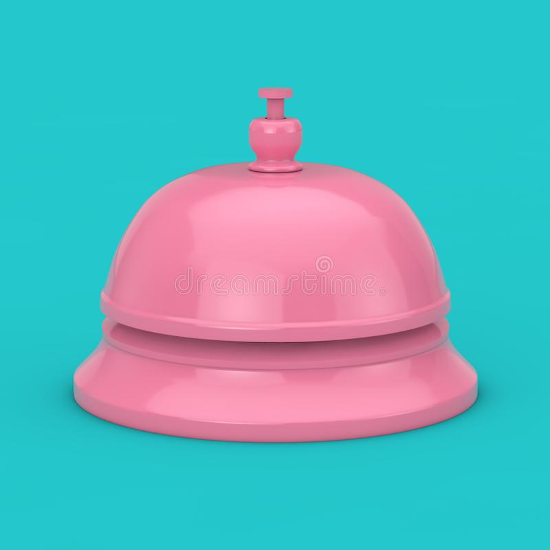 Pink Reception Ring Alarm Service Bell Mock Up. 3d Rendering stock images
