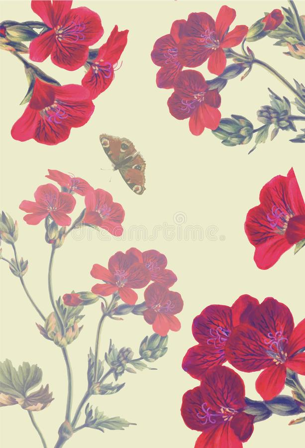 Pink and red flowers and butterfly on milk background royalty free illustration